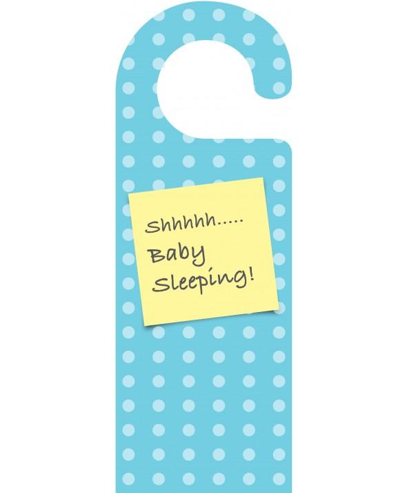 Shhh Baby Sleeping Blue Spots Door Hanger
