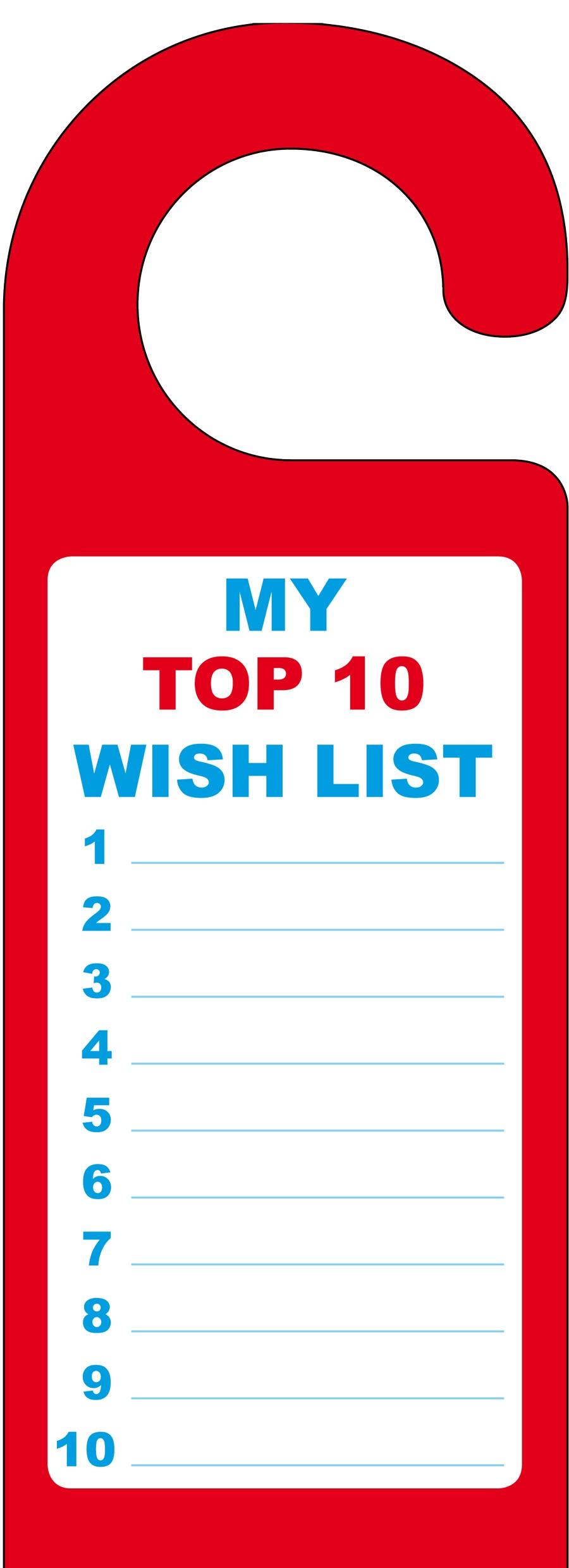 Children 39 s wish list door hanger for Home wish list
