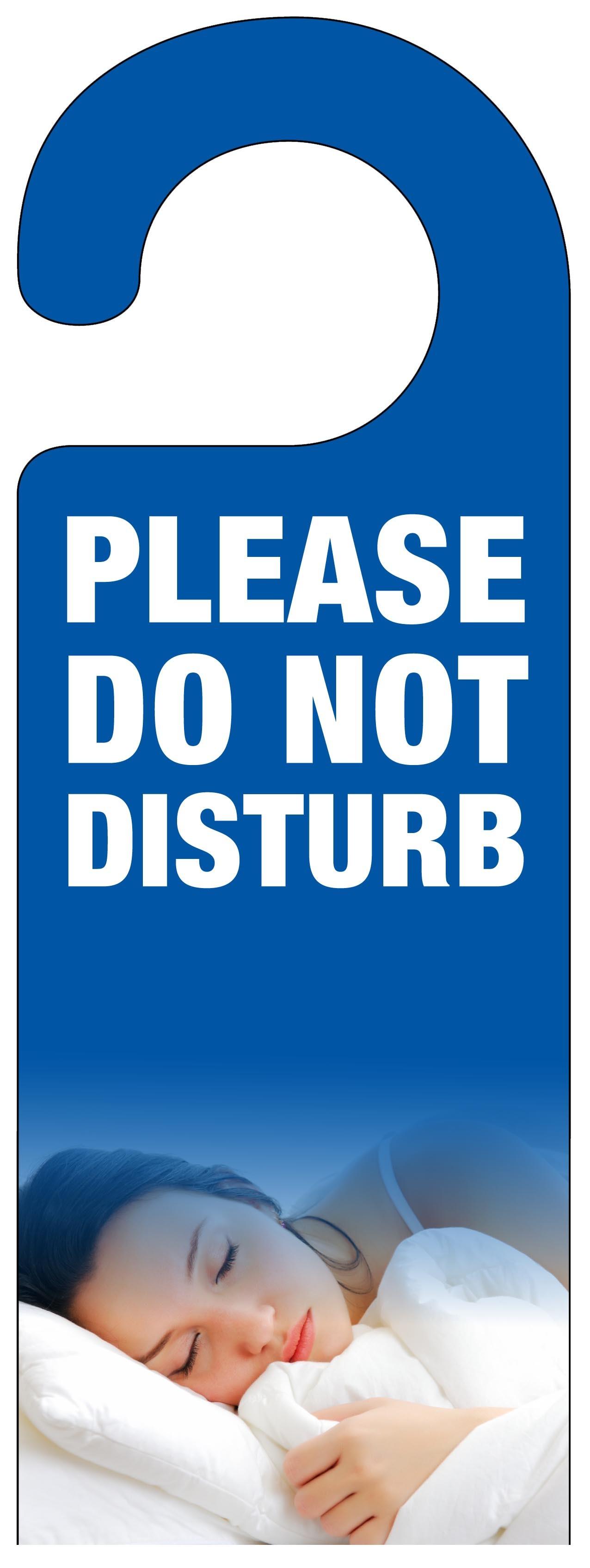 sleeping woman do not disturb door hanger � blue