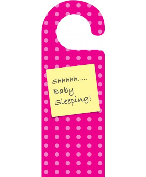 Shhh Baby Sleeping Pink Spots Door Hanger